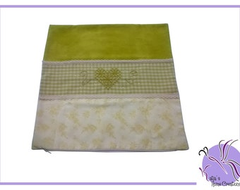 Oil/acid green pillowcase Embroidered Broderie Suisse with Swarovski
