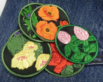 Flower patches poppy rose pansy cactus lilac clover embroidered circular