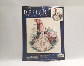 Pink Ribbon Counted Cross Stitch Kit Leisure Arts Designs For the Needle 114906 New Sealed USA  Paula Vaughan Aida Fabric Hat Basket Flowers