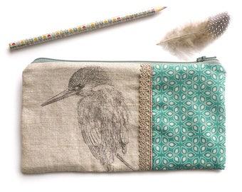 Kit Pocket pencil, makeup, brushes, fabric MARTIN SINNER, graphic design blue-green