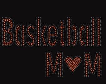 Basketball Mom Rhinestone Iron on Transfer                                   QIEB