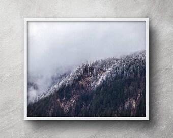 Mountain printable, Mountain photography, Snow mountain, Mountain wall art, Mountain artwork, Mountain mist print, Foggy mountain