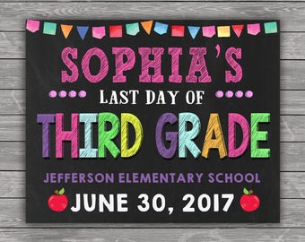 Last Day of School Sign, Last Day of School Chalkboard Sign, Last Day of Third Grade Sign, ANY GRADE School Photo, Printable, Personalized
