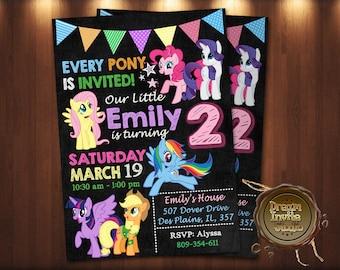 My Little Pony Invitation, My Little Pony Birthday Invitation, My Little Pony, My Little Pony Printable, My Little Pony Card