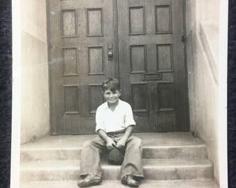 1920s Photo of Boy on Steps