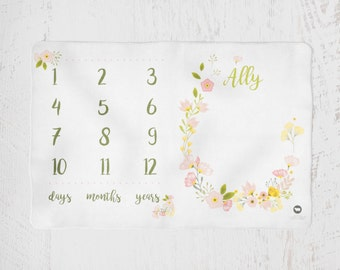 Floral Wreath Custom Name Option Milestone Day Month Year Blanket