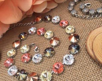 SWEET PEACH 12mm Swarovski Crystal Necklace