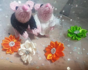 Bride and Groom knitted Mouse cake Topper/ gift / decoration