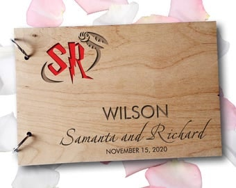 Wedding GuestBook Wooden GuestBook Wedding Gift Personalized GuestBook Monogram GuestBook HarryPotter Rustic Guest Book Engraved Wood
