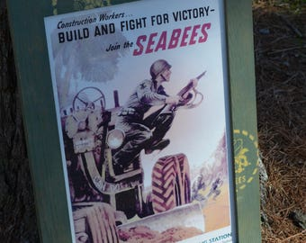 Framed Seabee WWII Recruiting Poster