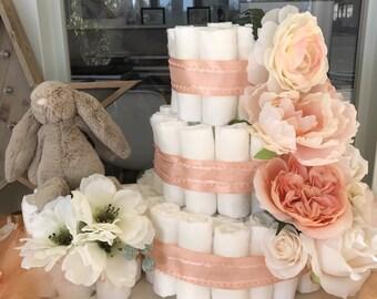 Custom Floral Diaper Cake