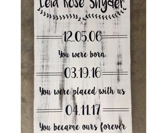 Adoption Floral/Line Sign *you were placed with us*, Adoption Sign, Custom Adoption Sign