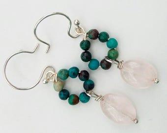 Rambling Rose - earrings, rose quartz, chrysocolla, silver, drops, french hooks