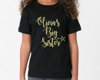 Metallic print personalised name Big sister kids children's T-shirts gorgeous alternative gift idea custommade top