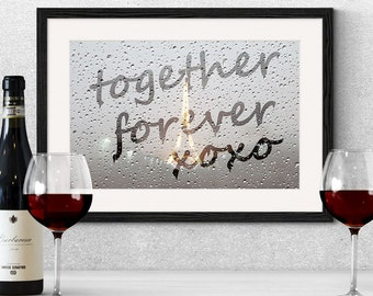 Romantic 'Together Forever' Rainy Window Print,Window Writing,In Love Art,Romantic Art Print,Love Print,Engagement Gift, Wedding Gift