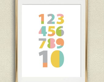 Numbers Kids Print, Playroom Decor, Kids Wall Art, Pastel Nursery Print, Printable Nursery Wall Art, Playroom Print, Printable Kids Room Art