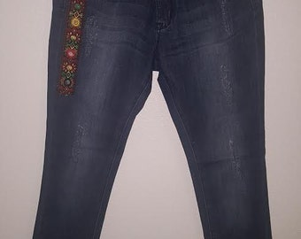 Jean Pants with Jacquard Tape Trim