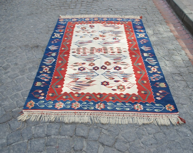 Oushak Rug, Turkish Rug, Vintage Rug, Area Carpet, Anatolian Rug, Low Pile Rug, Home and Office Rug, 4''x5'8 /124x179cm, Handwoven Rug,Rug