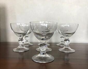 Vintage 'bellhop' cordial glasses - set of 7