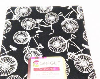 Quilting Fabric, Fat Quarter Single, Craft Supplies, Bicycle Fabric, Black/White Bike, Diy/Sewing Material, Apparel/Sewing Material,