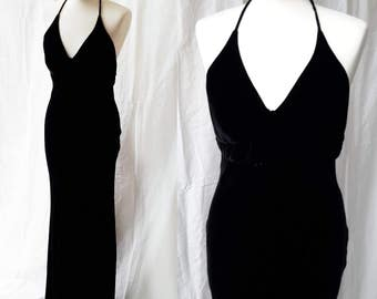 Black bias cut silk velvet dress. Vintage 1990s Ralph Lauren UK8 US4