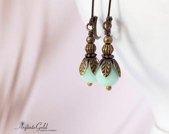 Edwardian Earrings, Vintage, Drop Earrings, Art Deco Style, Victorian Earrings, Amazonite Gemstone, Lever Back Ear Wires, Handmade, UK, Gift