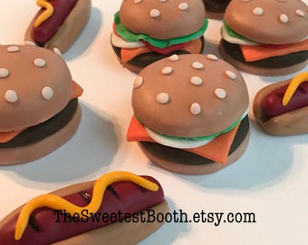 Summer Grilling Cupcake Toppers Fondant Burgers Hot Dogs