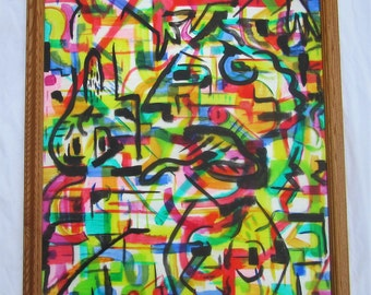 Abstract Painting, Large Painting, Acrylic Painting on Plexiglass and Cardboard, Framed, Ready to Hang, Original Art, Graffiti Art,