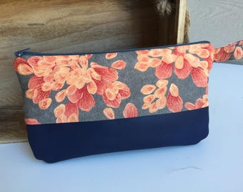 Floral Fabric and Leather Wrist Clutch, Wristlet