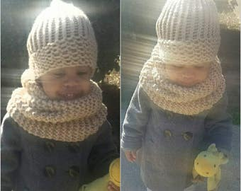 Cowl Neck Scarf and Hat Set (Toddler)