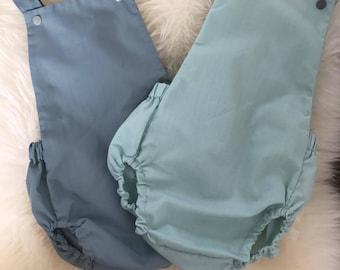 Neutral Baby Boy Romper / Mint Green / Duck Egg Blue