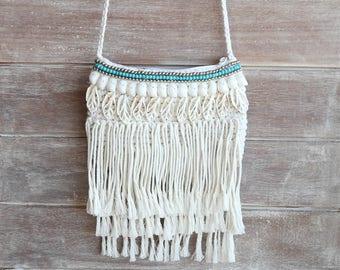 crochet bag, hippie bag, festival bag, shoulder bag, fringe bag, boho bag, shell bag, beach bag, hobo bag