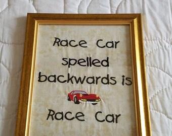 Race car wall hanging.