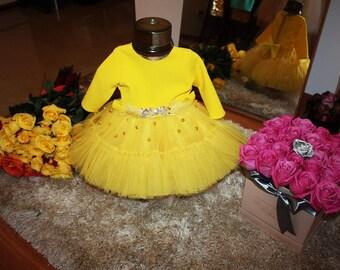 yellow dresses, baby dresses, vestito bimba, tulle baby,