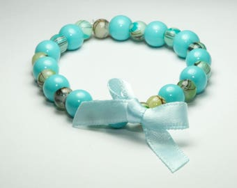 Multi-coloured elasticated bead and bow bracelet, Small treat or gift, Goody Bag Items, pretty