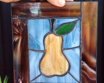 Pear stained glass window panel