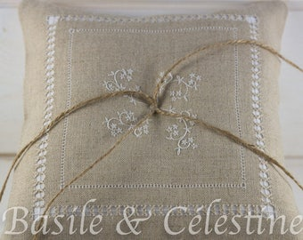 Hand embroidered wedding ring cushion