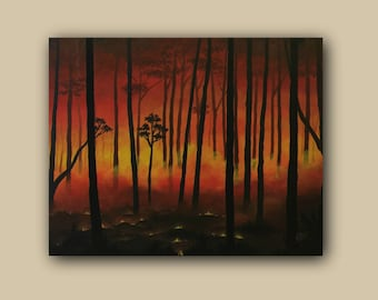 Landscape Acrylic Realism Painting Forest Fire