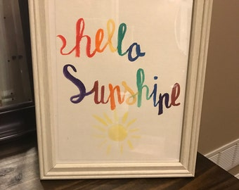 Hand Painted Water Color Hello Sunshine Sign