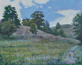 The Path to the Hills, Oil Painting, Landscape Painting, Original, Canvas, Impressionism, Hills, Sky, Summer