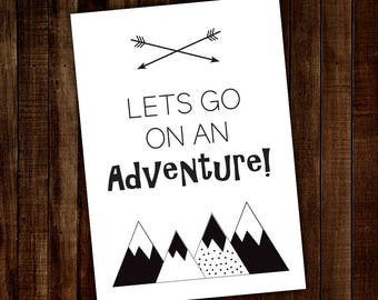 A4 Wall Print lets go on an adventure - A4 Wall Print - A4 Print - Kids wall prints - Kids Poster - A4 sign kids - A4 Sign adults
