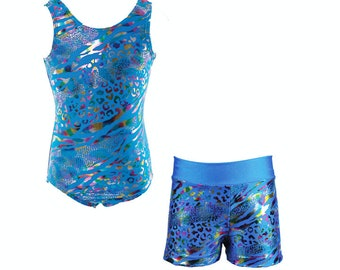 Girls Turquoise Multi Color Leopard Print Leotard with Heart Back and shorts for Dance or Gymnastics