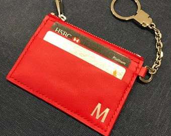 Custom made leather card and key pouch