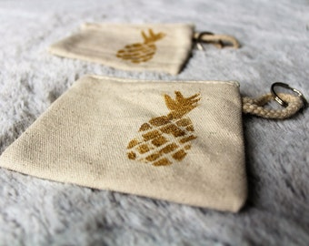 Wallet | Keychain linen canvas with pineapple