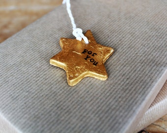 Clay | gift tag gold in Star form