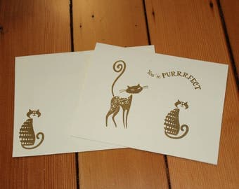 "Cat ""You're Purrrfect"" Card Set of 10 - Heat Embossed Gold on Ivory Paper, Blank Inside"