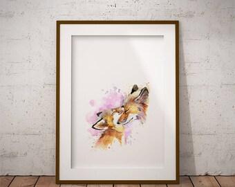 Fox family, nursery decor, baby fox, printable art, nursery wall art, cute fox, nursery art,digital download, wall decor, cute baby, family