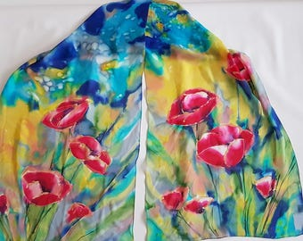 SALE | poppies silk scarf | floral scarf | batik scarf | hand painted scarf | scarves | gift for her