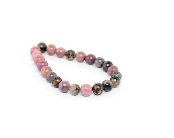 "6MM Rhodonite Natural Gemstone Round Shape Half Strand Loose Beads 7.5"" (100065h-257)"