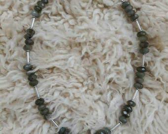 Labradorite and sterling silver bali beads.